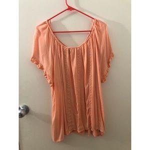 Torrid 3x Cold/off-the-shoulder orange top.